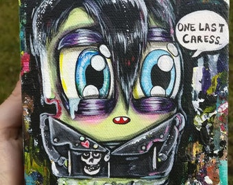 "Misfits Inspired Creepy Cute Art Popsicle Guy "" One Last Caress"" Lowbrow art original Acrylic painting 5x7 inches with pins"