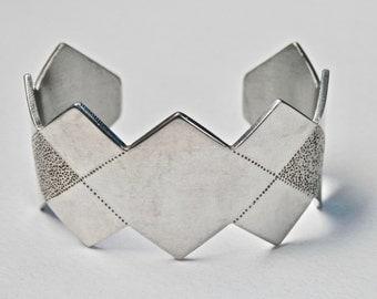 Modernist Cuff Bracelet Cut Steel SilverTone Geometric Zig Zag Edge Diamond Harlequin Pattern Abstract Vintage Jewelry Frosty Brushed Silver