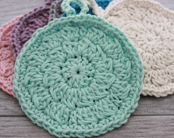 Crochet Bath Scrubby - Round Crochet Mini Washcloth - Large Face Scrubby in colors of Cream, Pink, Purple, Gray, Mint Green, Turquoise