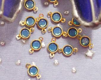 Vintage Swarovski 4mm White Opal Sky Blue Channels - Total length 7 or 9mm -  (8)