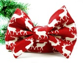 Christmas Reindeer Bow Tie Martingale Dog Collar - 1.5 inch width