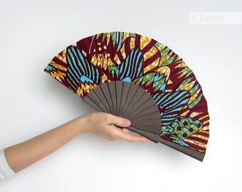 African wax block print hand fan with sleeve - Abanico