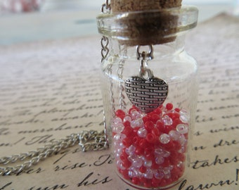 Glass Jar Pendant Necklace With Red And Pink Beads And Patchwork Heart Charm