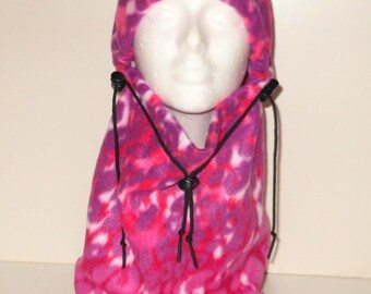 Pink And Purple Animal Safari Print Adult Fleece Balaclava Hat - Ski Mask - Headcovering - Neckwarmer - Gift For Her - Unique Gift
