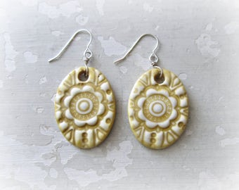 Sale Earrings, Ceramic Earrings, Sterling Earrings, Pottery Jewelry, Mustard Earrings, Clay Jewelry, Clay Earrings, Floral Earrings,