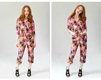 60s Pajama Set- M, Loungewear, PJs, Sleepwear, 1970s, Capri Colorblock Lounge Set