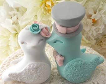 Love Birds Wedding Cake Topper, White, Vintage Pink, Aqua and Grey, Bride and Groom Keepsake, Fully Customizable