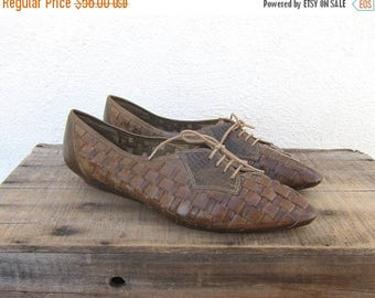 15% Off Out of Town Sale 80s Huarache Oxfords Woven Olive Green Leather Wedges Lace Up Made in Italy Size 9.5