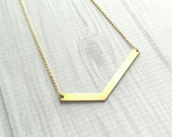 V Shape Necklace - gold asymmetrical uneven pendant - simple trendy geometric bar check celebrity style - 14K gold fill chain upgrade option