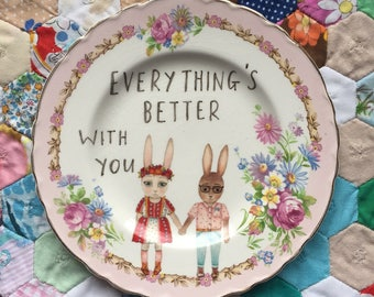 Everything's Better For You Spring Bunny Couple Vintage Illustrated Plate