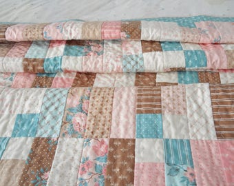 Pastel Baby Quilt Pink Blue and Brown Pastels Girls Quilt Small Florals Squares Free Motion  Meander Small Lap Quilt Turquoise