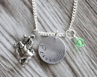 Unicorn Necklace, Hand Stamped Pendant, Personalized Name and Birthstone Necklace, Children Necklace, Rainbow Necklace Children Jewelry,
