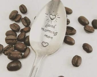 Good Morning Mom Spoon Gifts for Mothers Day Silverware Flatware Vintage Antique