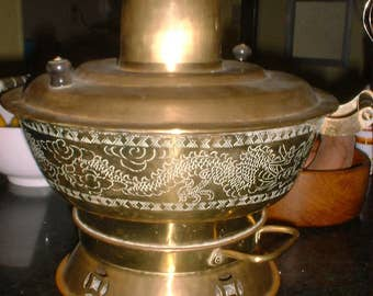 Antique Korean Brass Cooker Dragons Soup Stews Hot Meat