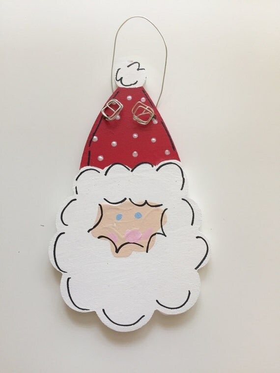 Personalized Santa Claus ornament,  Hand painted santa ornament, Santa face ornament, personalized kid's ornament, Christmas ornament