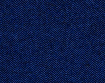 SALE - Navy Blue Herringbone Fabric Shetland Flannel Herringbone Fabric in Navy by Robert Kaufman Fabrics - 1 Yard