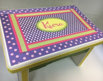 Polka Dot  Personalized Sturdy Stool-Pink, Purple, Lime and Yellow