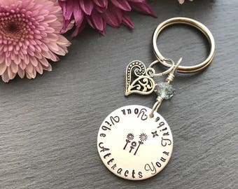 Your Vibe Attracts Your Tribe - Personalised Keyring - Hand Stamped Keyring - Mothers Day Gift - Gift for Her - Australia