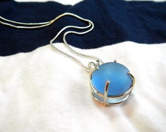 Sea Glass Necklace ~ Cornflower Blue ~ Prong Set in Sterling Silver with a Sterling Chain