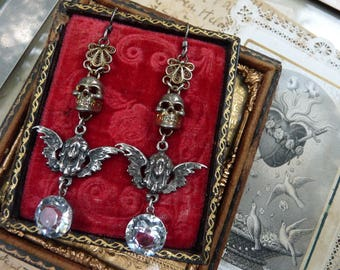Antique Memento Mori Skull Earrings, Talismans for the Alchemist, by RusticGypsyCreations