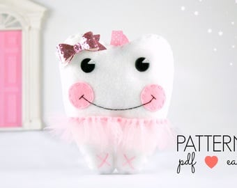 Tooth Fairy Pillow Sewing Pattern, Felt Pattern, Craft Fair Pattern, Tutu Tooth Cushion, Tooth Shaped Pillow,  Plushie, Softie