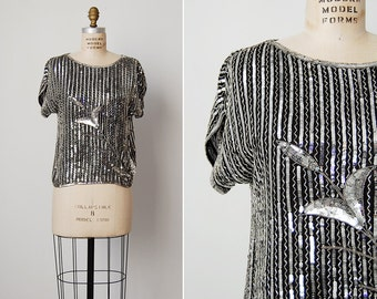 vintage sequin top / silver sequin blouse / silk beaded top / Silver Springs blouse