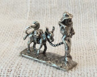 Gold Digger with Pack Mule Sterling Silver Charm