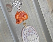 Carved Soapstone and Rabbit Ojime Netsuke Pendant with Goldfilled Chain
