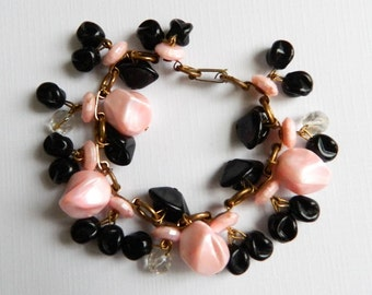 Vintage Pink Black and Crystal Charm Cha Cha Bracelet - Book Chain - 40 Charms - 1950's Jewelry