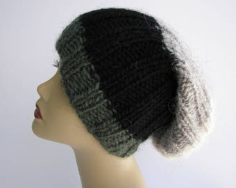ICELANDIC LOPI WOOL Slouch Beanie Fold Up Color Block Hat in Gray Black/ Lopi yarn Knit Slouch hat/ Ready to Ship