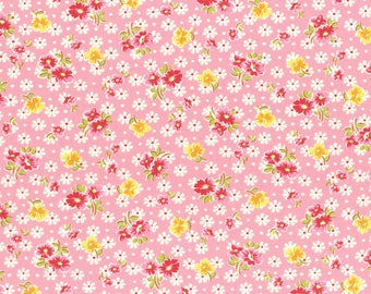 Flower toss on pink from the Old New 30's Spring 2017 collection by Lecien - 31524L-20