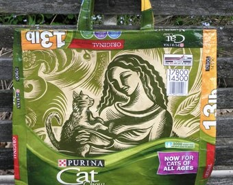 NEW LOW PRICE, Tote Recycled Upcycled Repurposed from Purina Cat Food Bag