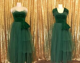 Vintage 50s Velvet Ball Gown // Tulle Prom Dress // 50s Strapless Party Dress // Alternative Wedding Dress Bridesmaid Dress