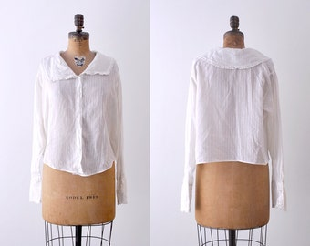 1920's cotton blouse. white. collared. 20's large blouse. sheer. xl.