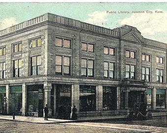 Vintage 1910 Photo Postcard, Public Library, Junction City, Kans.