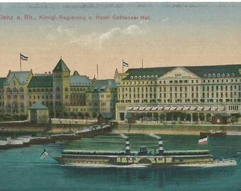 Vintage 1900's Photo Postcard,  River Front View, Coblenz, Germany