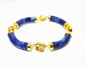 Blue Sodalite Bracelet - Gold Tone & Blue Gemstone Links - Asian Inspired Design - Vintage 1970's 1980's 1990's Retro Era Linky Gemstones