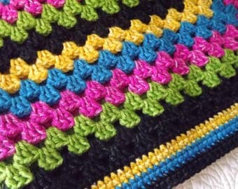 Large Crocheted Classic Style Granny Square Blanket Throw Bright Green Pink Blue Yellow Black