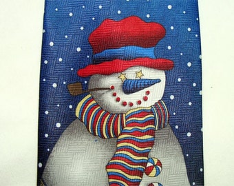 Really Cute SNOWMAN Christmas TIE Vintage Yet New