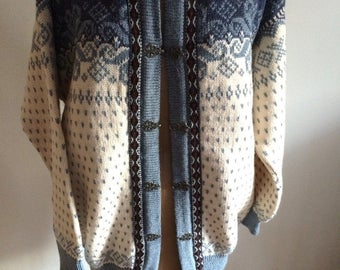 Norwegian Sweater Alpine Cardigan Dale of Norway Button Up Cardigan Icelandic Look Made in Norway XL