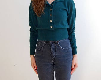 vintage 80's green wool sweater with gold buttons