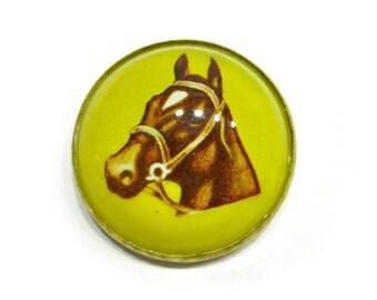 Vintage Bridle Button Rosette Dome Intaglio Glass Horse Brooch Vintage Yellow Convex Bubble Pin Brass Equestrian