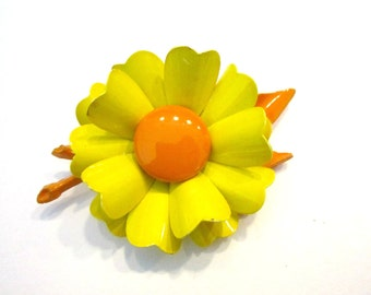 "Vintage Yellow Orange Flower Brooch Large Enamel 4"" Vintage Sunny Pin Bold Flower Gift Idea Under 25 Bright Flower Jewelry for Her"