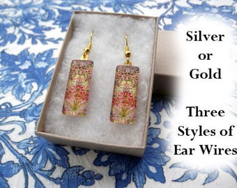 William Morris earrings, hyacinth earrings, small glass earrings, arts and crafts earrings, flower earrings, art nouveau floral, 1917
