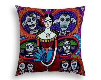 Day of The Dead Pillow -  -  Mexican Folk Art by Heather Galler Frida Kahlo, Sugar Skulls, Skeleton - 5 sizes to choose from