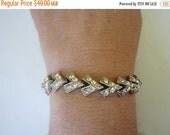 On Sale Vintage 1940s Bracelet Zig Zag Rhinestone. Shimmer and sparkle