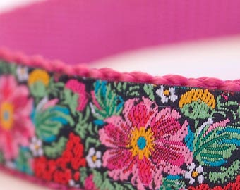 Midnight Gardens Dog Collar, Adjustable Pet Collar, Floral Dog Collar, Summer Pet Collar. Girl Dog Collar