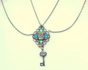 Neo Victorian,  Steampunk, Swarovski, Swarovski Crystal, Double Chain, Key Necklace, OOAK
