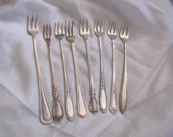 Seafood - Lot of 8 Silver Plate 3 Prong Forks Crab Seafood Olive - Mixed Patterns (#7)