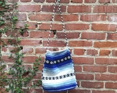 Blue and white Mexican blanket bag